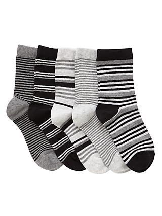 John Lewis & Partners Boys' Stripe Socks, Pack of 5, Black