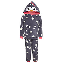Buy John Lewis Children's Fleece Penguin Pyjamas, Grey Online at johnlewis.com