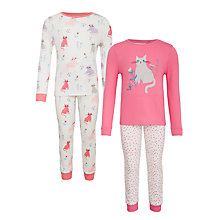 Buy John Lewis Girls' Cat Pyjamas, Pack of 2, Pink/White Online at johnlewis.com