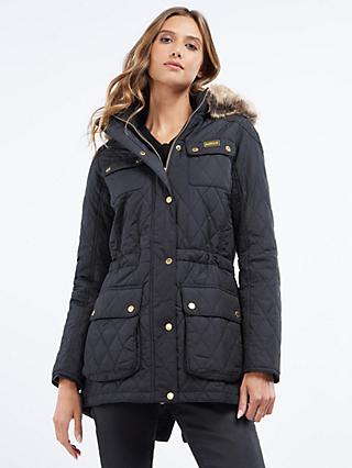 Barbour International Enduro Quilted Hooded Jacket, Black