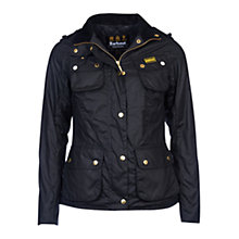 Buy Barbour International Fins Waxed Jacket, Black Online at johnlewis.com