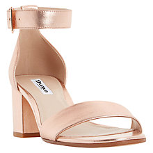 Buy Dune Jaygo Block Heeled Sandals, Rose Gold Online at johnlewis.com