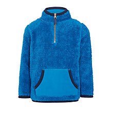 Buy John Lewis Boys' Fluffy Half Zip Fleece, Blue Online at johnlewis.com