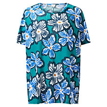 Buy East Dara Print Linen Top, Cobalt Online at johnlewis.com