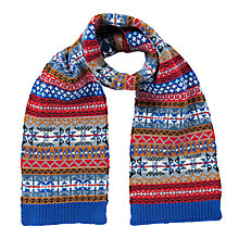 Buy John Lewis Children's Fair Isle Scarf, Blue/Multi Online at johnlewis.com
