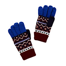 Buy John Lewis Children's Fair Isle Gloves, Burgundy/Multi Online at johnlewis.com