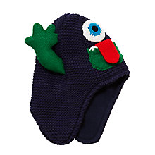 Buy John Lewis Children's Monster Trapper Hat, Navy Online at johnlewis.com