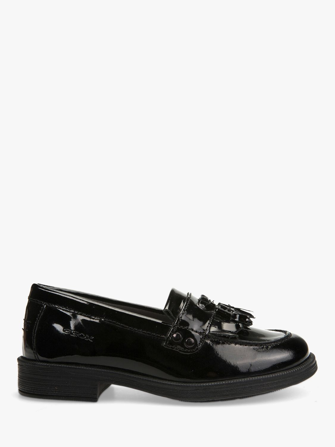 9a46ba11d4 Geox Children's Agata Slip On Leather Loafers, Patent Black at John Lewis &  Partners
