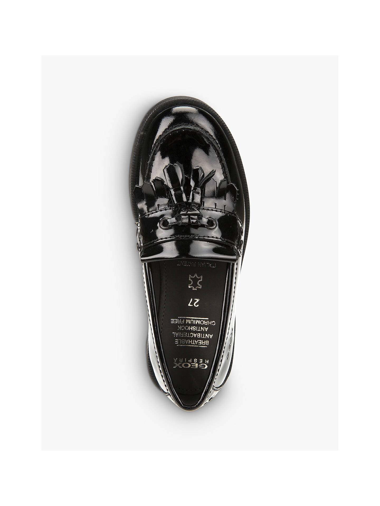 Geox Children's Agata Slip On Leather Loafers, Patent Black