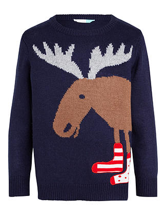 Buy John Lewis & Partners Boys' Moose Crew Neck Jumper, Navy, 8 years Online at johnlewis.com