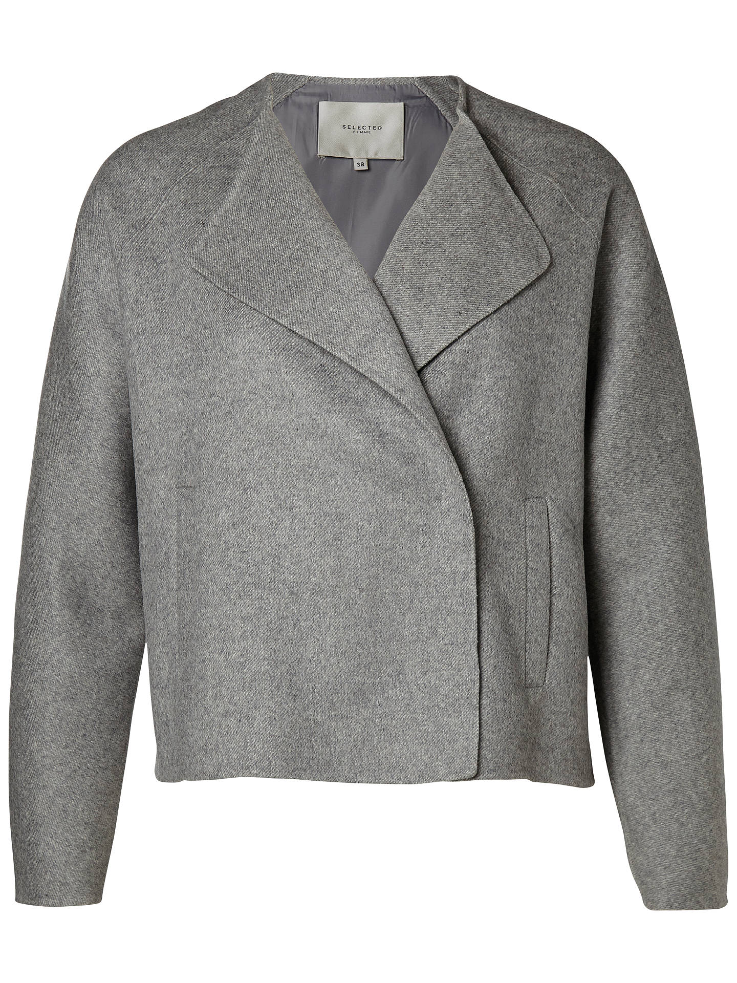 f9c1183422473 Buy Selected Femme Adana Jacket, Grey, 8 Online at johnlewis.com ...