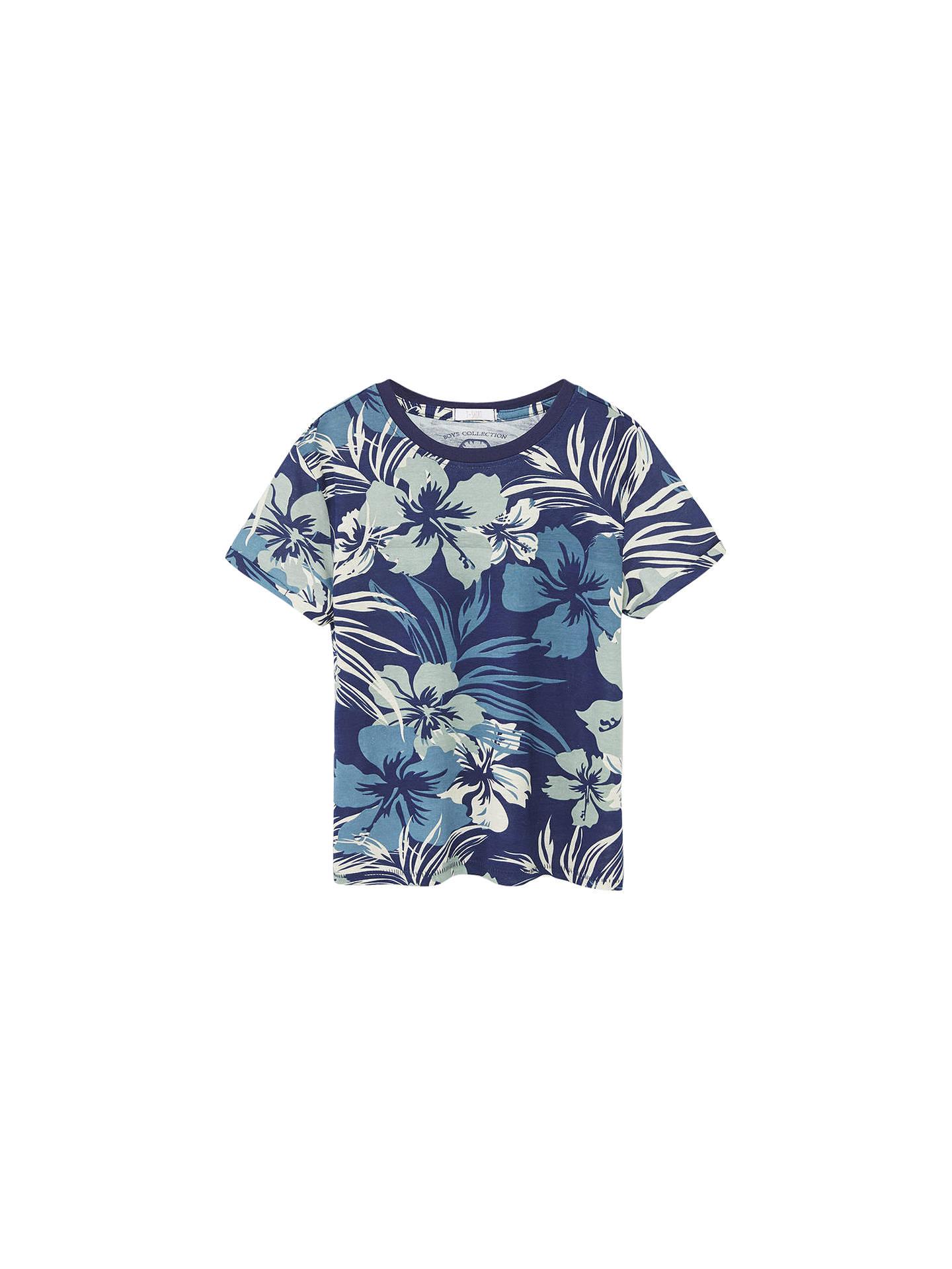 629d88492 Buy Mango Kids Boys' Hawaiian T-Shirt, Blue, 3-4 years ...