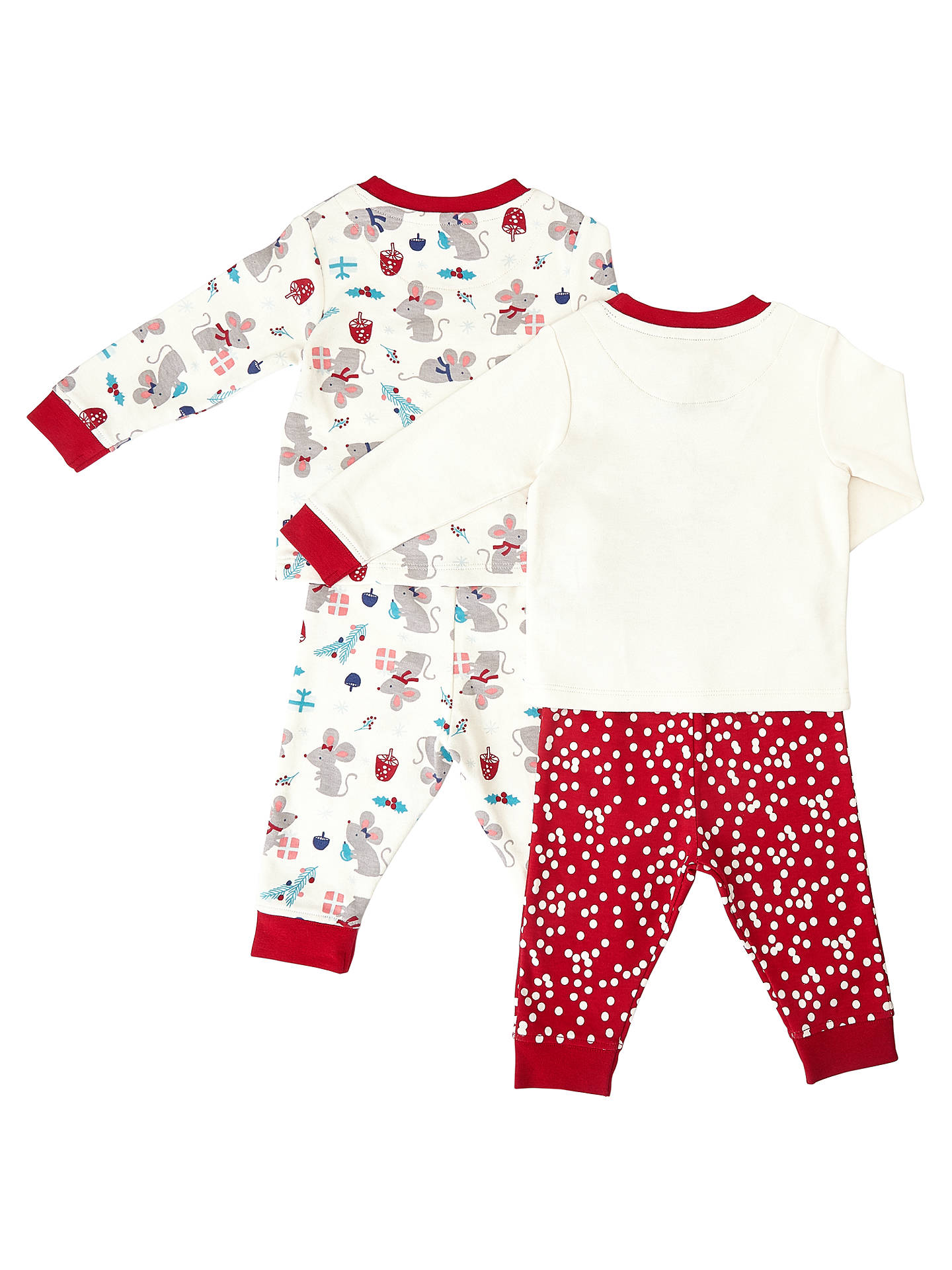 John Lewis Baby Christmas Mouse Pyjamas, Pack of 2, Red/White at ...