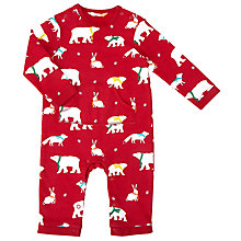 Buy John Lewis Baby Polar Bear Print Romper, Red Online at johnlewis.com