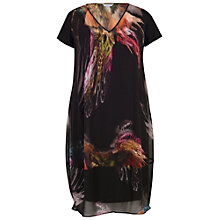 Buy Chesca Feather Print Dress, Black Online at johnlewis.com