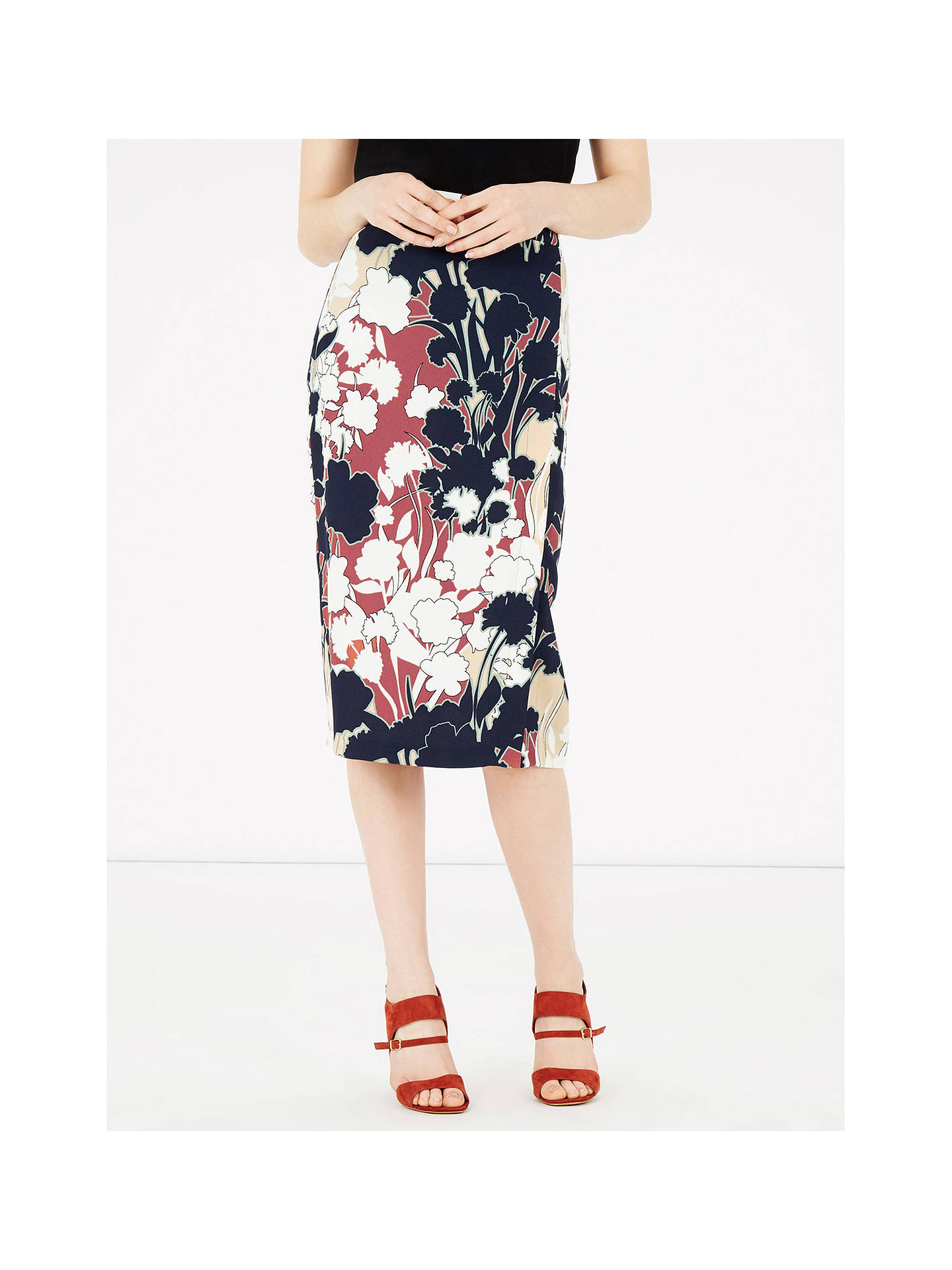 1333c91add7787 ... Buy Warehouse Floral Print Wrap Detail Skirt , Copper, 6 Online at  johnlewis.com ...