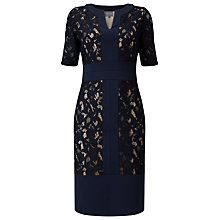 Buy Phase Eight Luisa Lace Ponte Dress, Navy Online at johnlewis.com