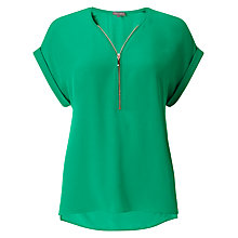 Buy Phase Eight Remi Zip Front Crepe Blouse, Green Online at johnlewis.com