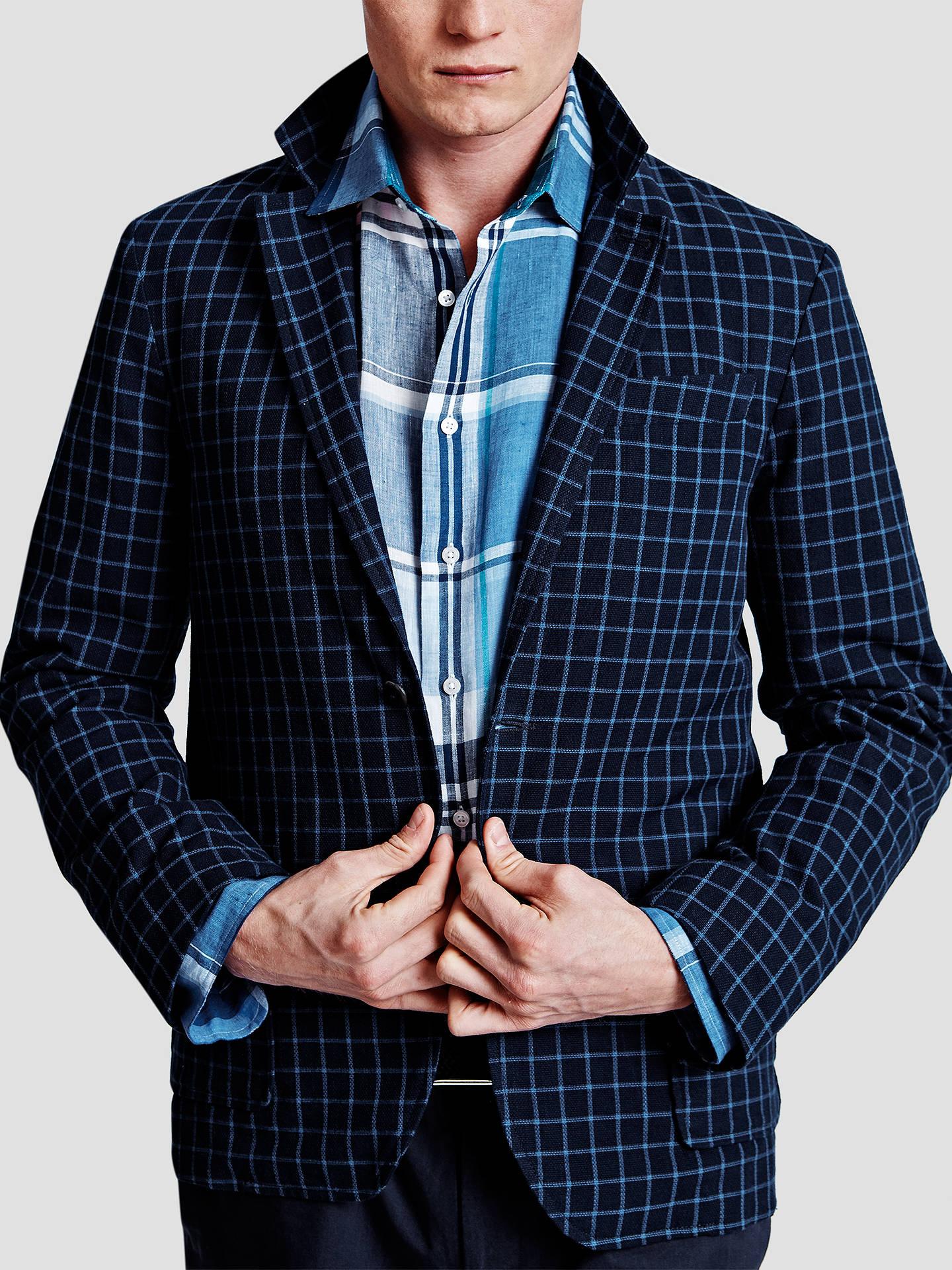 3ce3a3345ce5 ... Buy Thomas Pink Milburn Check Cotton Blazer, Navy/Blue, 34R Online at  johnlewis ...