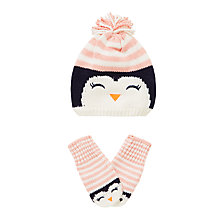 Buy John Lewis Children's Penguin Hat and Mitten Set, Pink Online at johnlewis.com