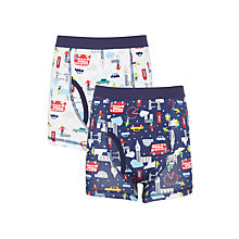 Buy John Lewis Boys' Christmas London Trunks, Pack of 2, White/Blue Online at johnlewis.com