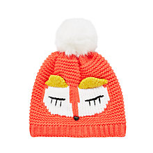 Buy John Lewis Children's Knitted Fox Hat, Orange Online at johnlewis.com