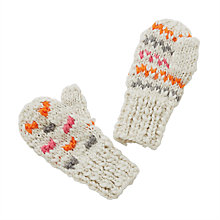 Buy John Lewis Children's Chunky Knitted Colour Spot Mittens, Neutral Online at johnlewis.com