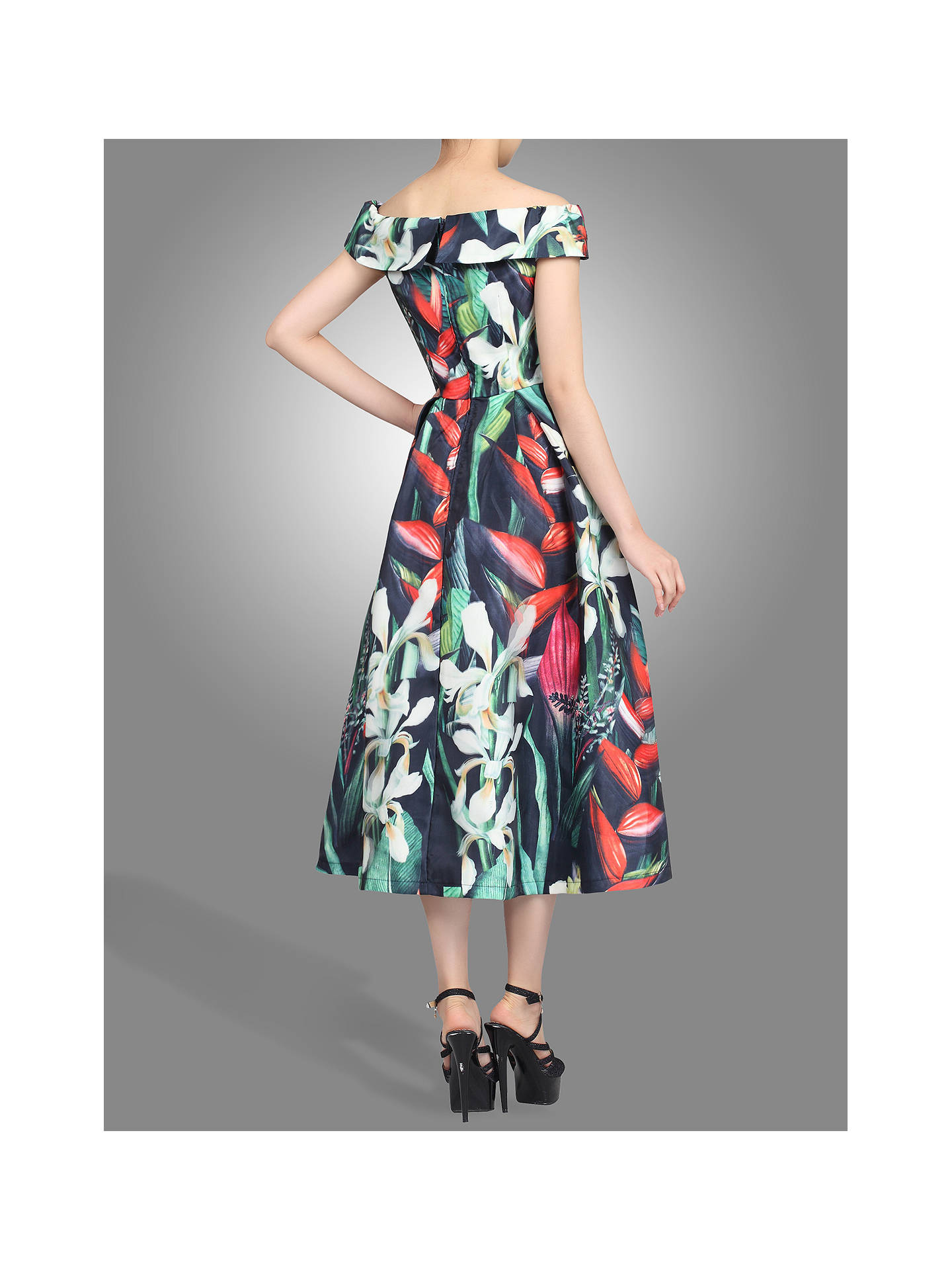 BuyJolie Moi 3D Pattern Bardot Dress, Black, 8 Online at johnlewis.com
