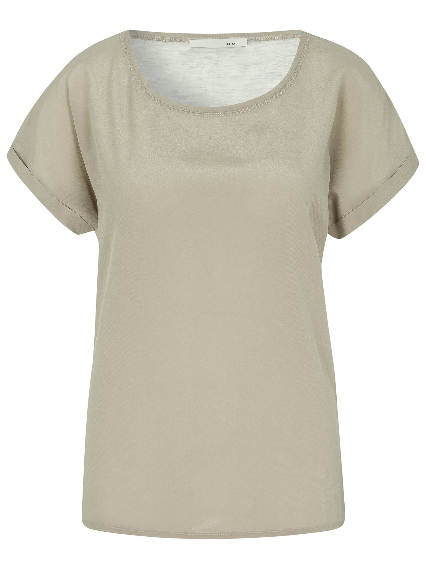 abe2263aa938 Oui Crepe Woven Front T-Shirt, Light Brown/Grey at John Lewis & Partners