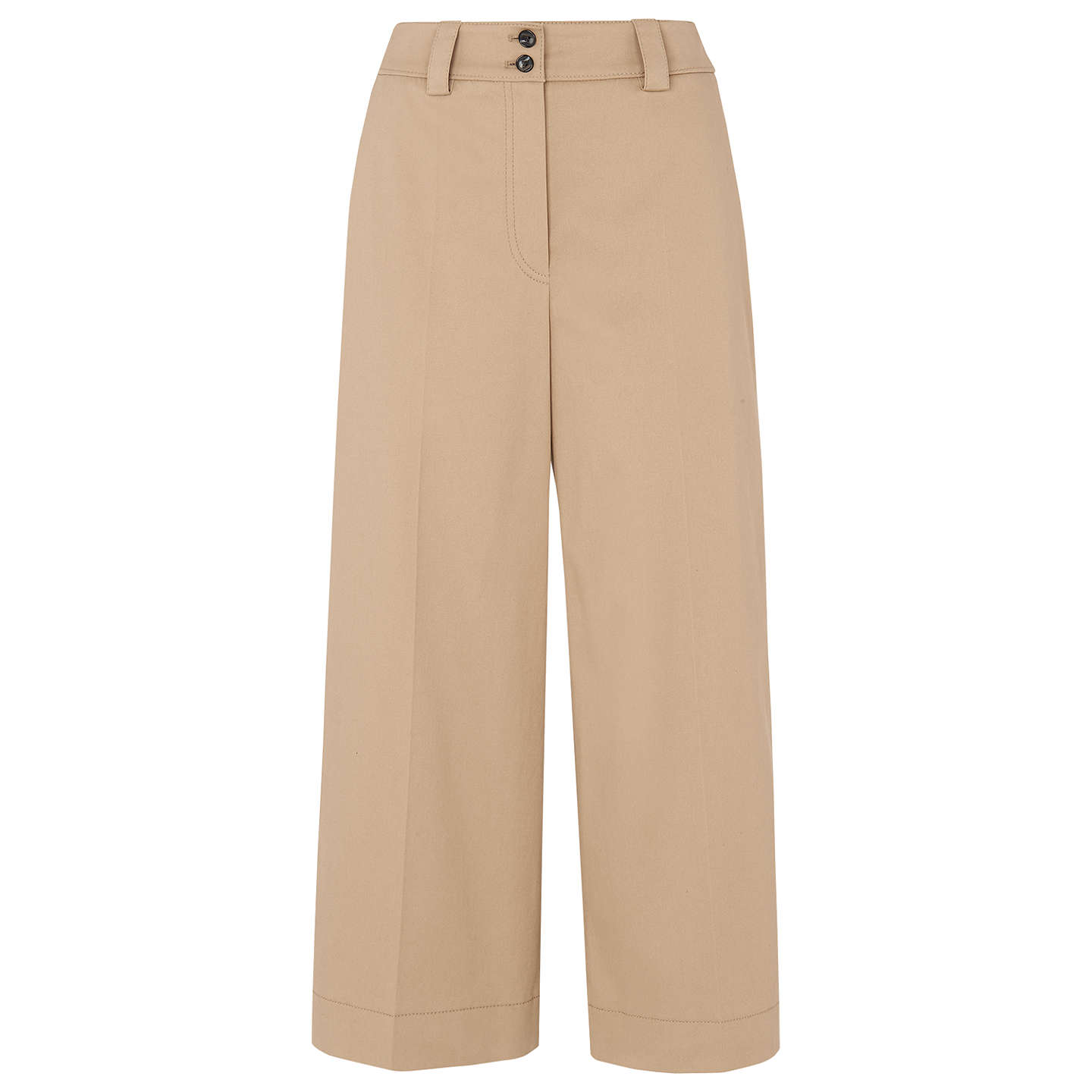BuyWhistles Cotton Wide Leg Trousers, Beige, 6 Online at johnlewis.com