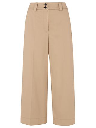 Whistles Cotton Wide Leg Trousers, Beige