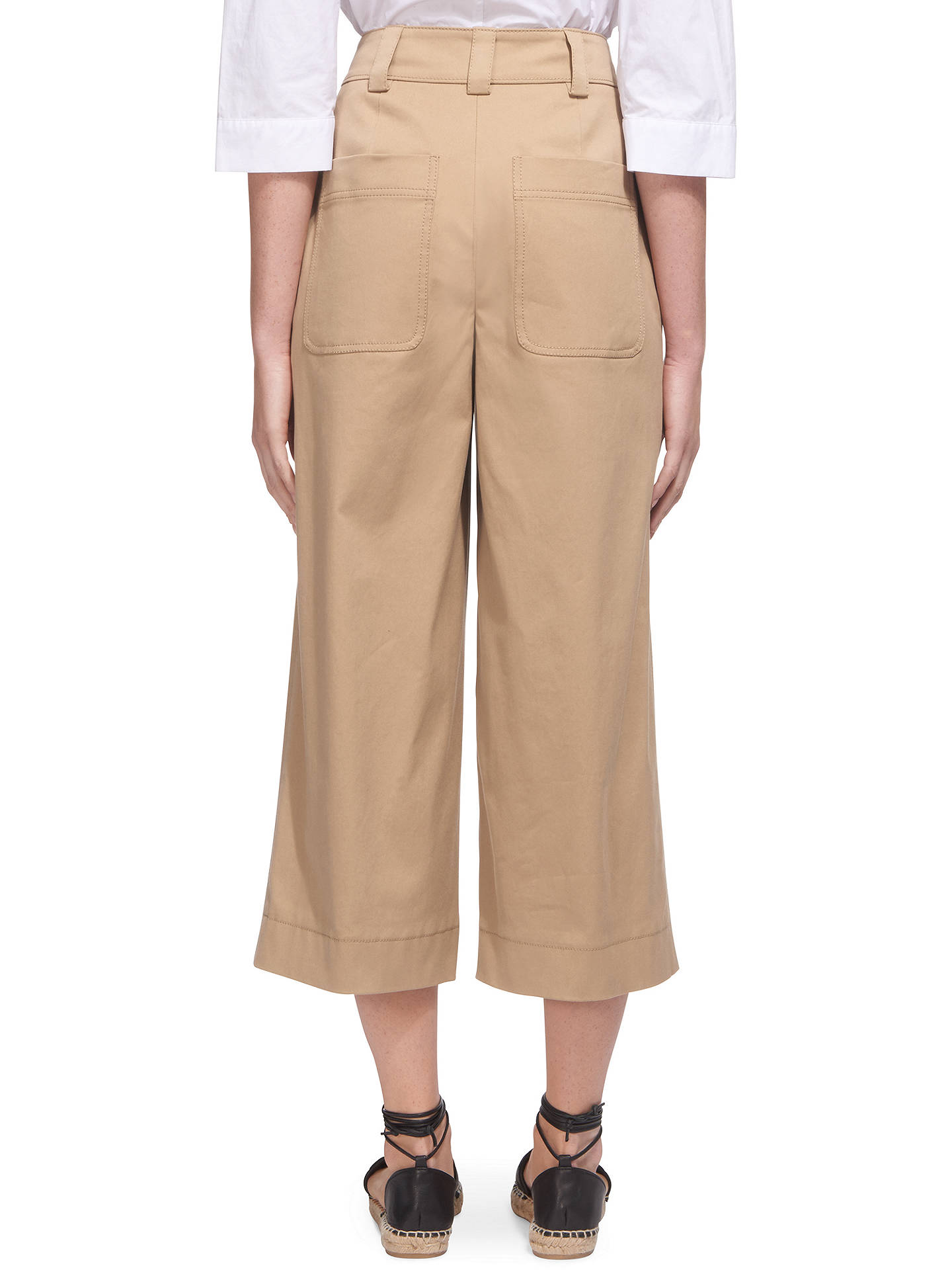 BuyWhistles Cotton Wide Leg Trousers, Beige, 8 Online at johnlewis.com