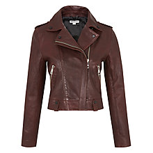 Buy Whistles Maya Leather Jacket, Burgundy Online at johnlewis.com