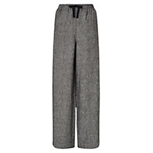 Buy East Linen Wide Leg Trousers, Black Online at johnlewis.com