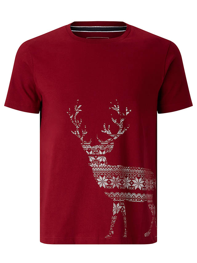 Buy John Lewis Organic Cotton Christmas Fair Isle Stag T-Shirt, Red, L Online at johnlewis.com
