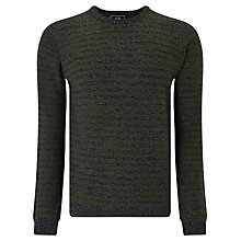 Buy John Lewis Made in Italy Merino Cashmere Stripe Crew Neck Jumper, Olive/Charcoal Online at johnlewis.com