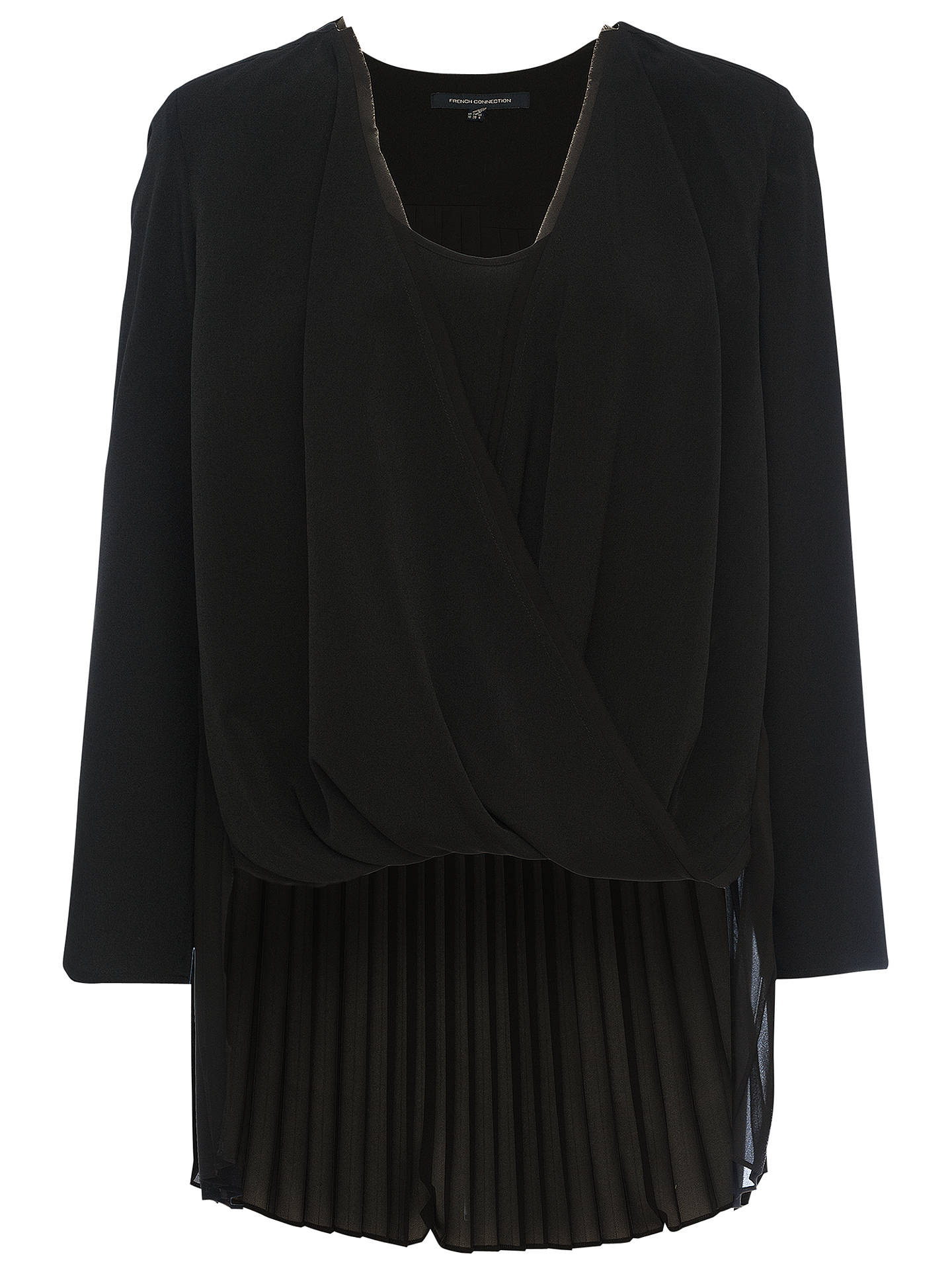 20b47935cdd Buy French Connection Polly Plains Long Sleeved V-Neck Top, Black, XS  Online ...