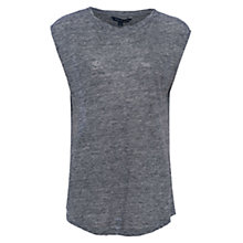 Buy French Connection Laurel Round Neck Linen T-shirt, Dark Grey Online at johnlewis.com