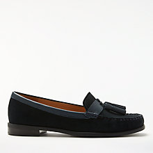 Buy John Lewis Gisela Trim Flat Moccasins, Navy Online at johnlewis.com