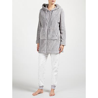 John Lewis Zip Through Waffle Fleece Hooded Robe, Grey