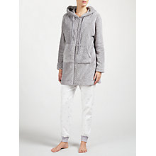 Buy John Lewis Zip Through Waffle Fleece Hooded Robe, Grey Online at johnlewis.com