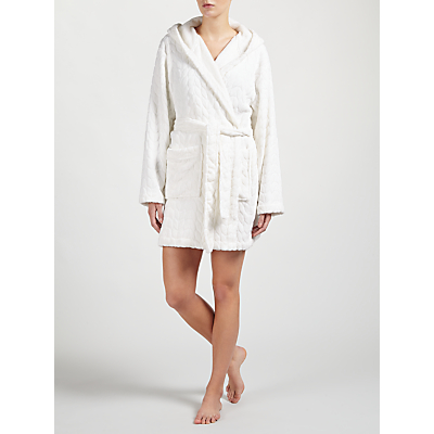 John Lewis Embossed Leaf Short Hooded Robe, Ivory
