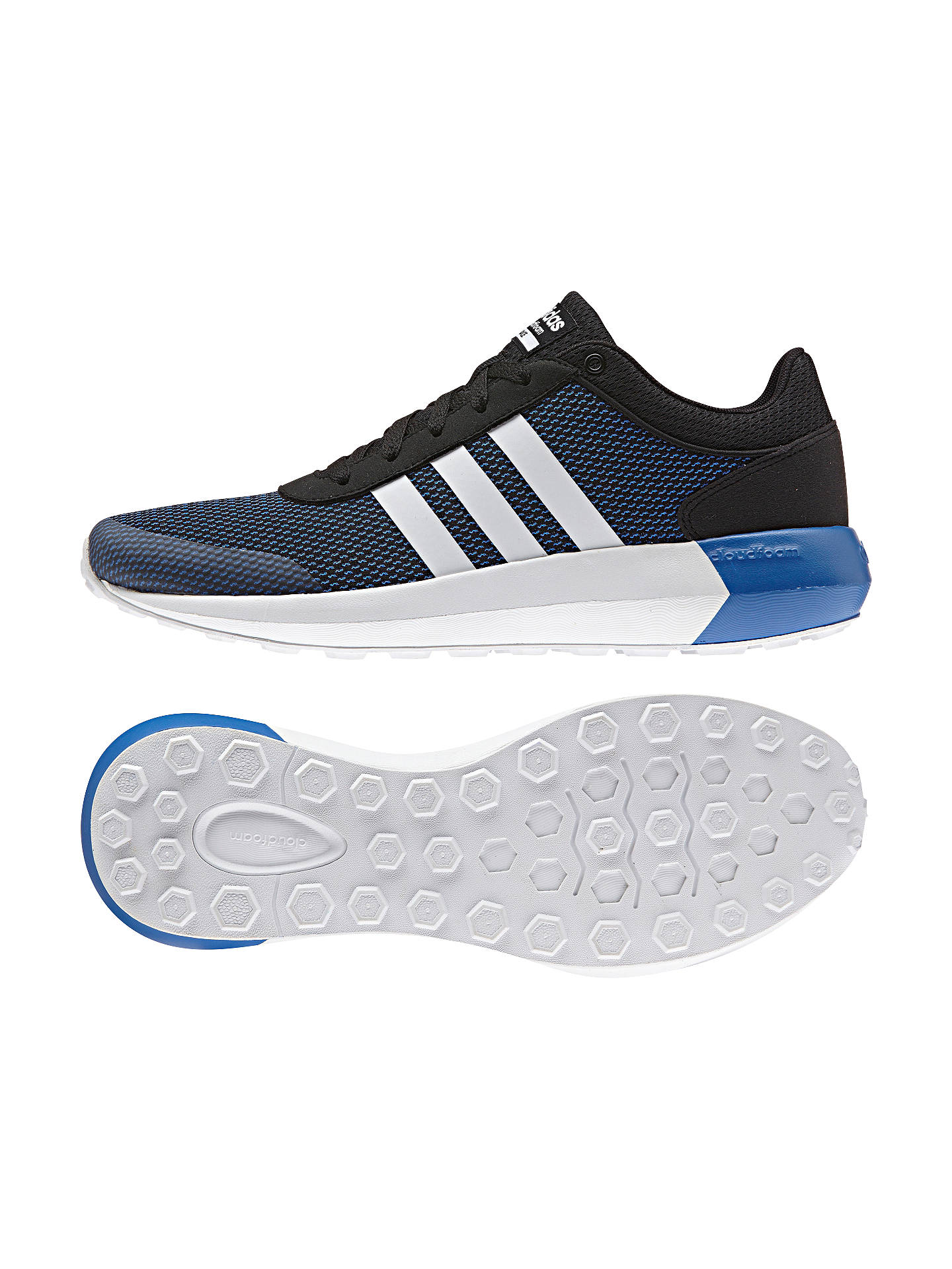 huge selection of 98954 13471 ... Buy Adidas Neo Cloudfoam Men s Race Trainers, Core Black White Blue, 8  ...