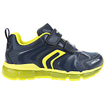 Buy Geox Children's J Android Double Riptape Trainers, Navy/Lime Online at johnlewis.com