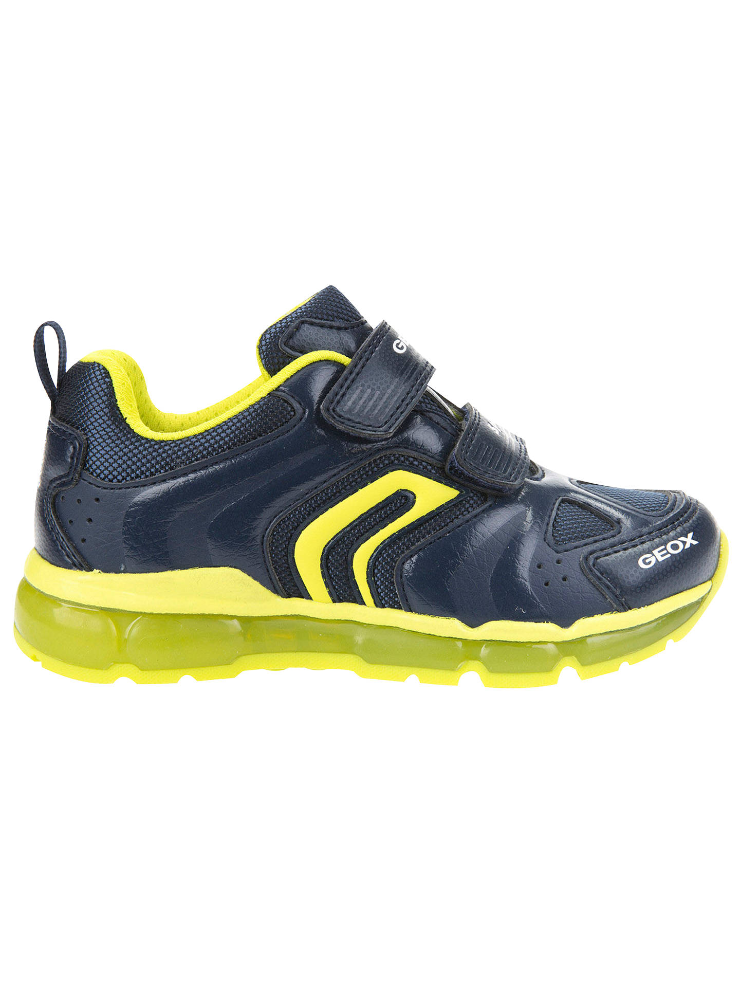 e035b9bbd6e5 Buy Geox Children's J Android Double Riptape Trainers, Navy/Lime, 28 Online  at ...
