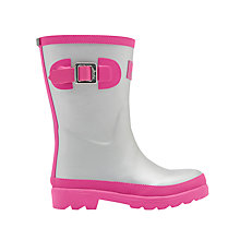 Buy Little Joule Children's Field Wellington Boots, Silver/Pink Online at johnlewis.com