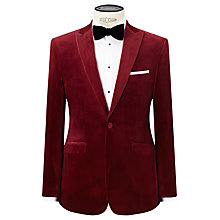 Buy John Lewis Peak Lapel Velvet Tailored Dinner Jacket, Ruby Online at johnlewis.com