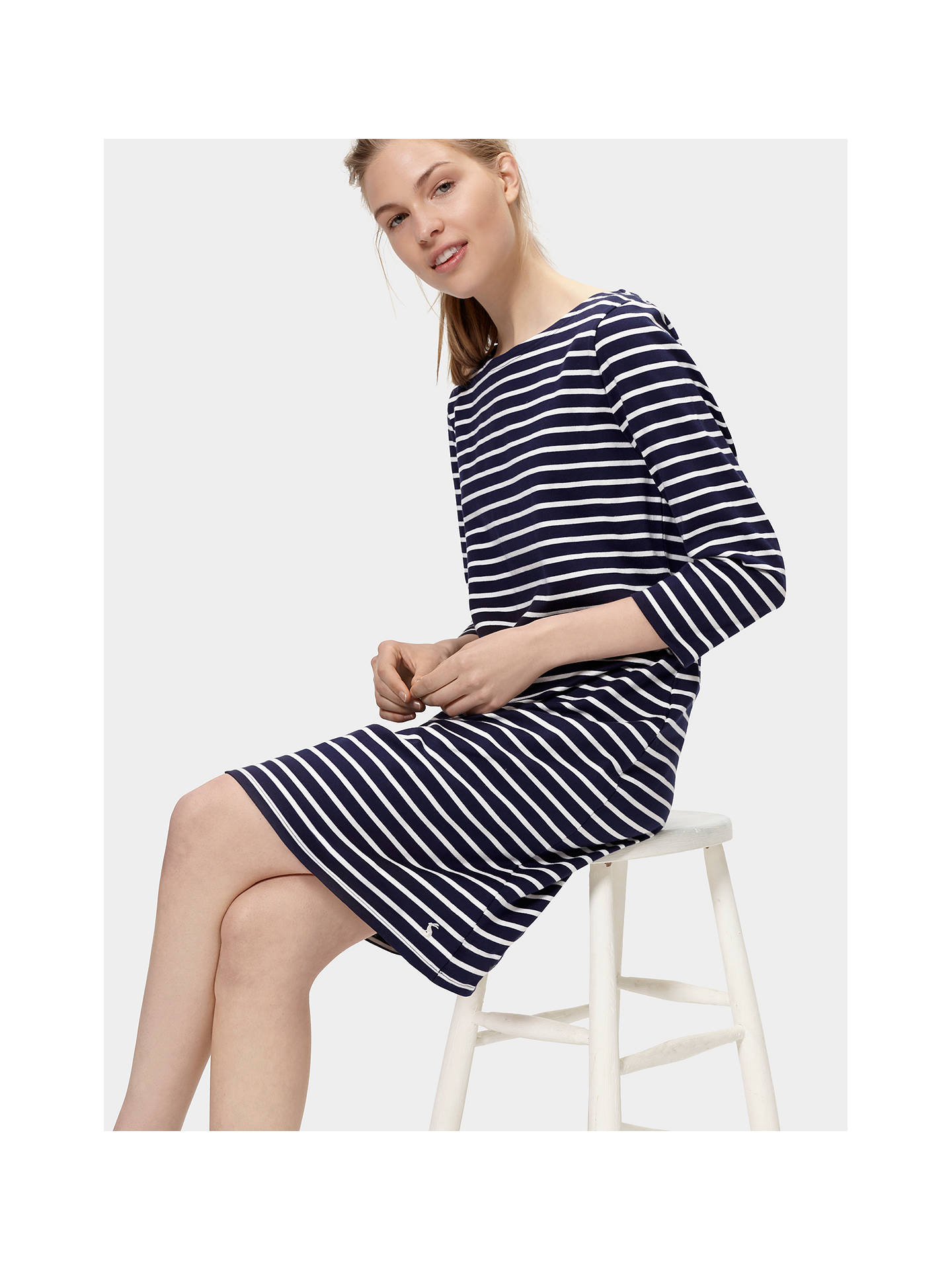 9aa0075c3995 ... Buy Joules Riviera 3/4 Sleeve Jersey T-Shirt Dress, French Navy Stripe  ...