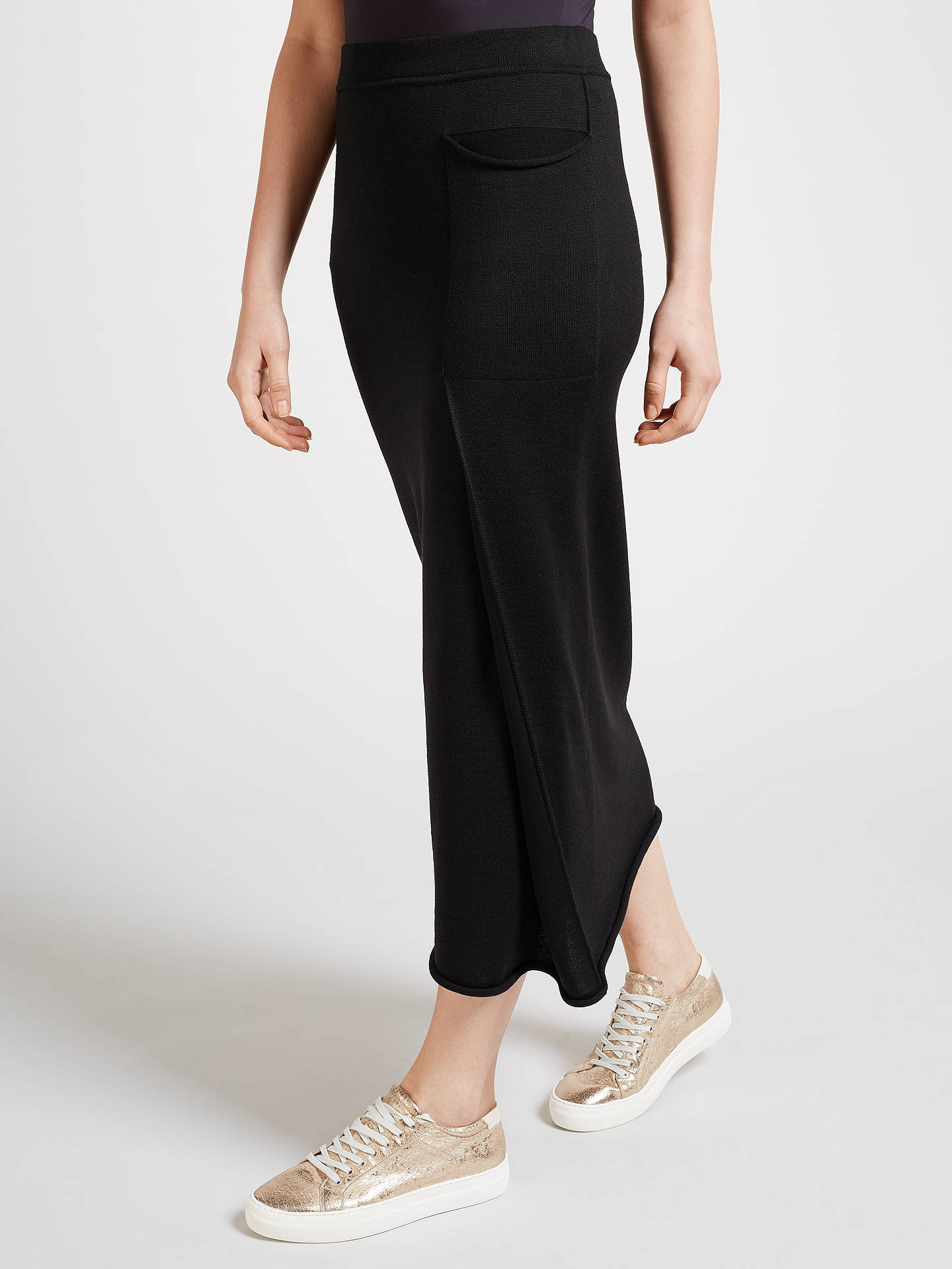 BuyCrea Concept Asymmetric Knitted Skirt, Black, 10 Online at johnlewis.com