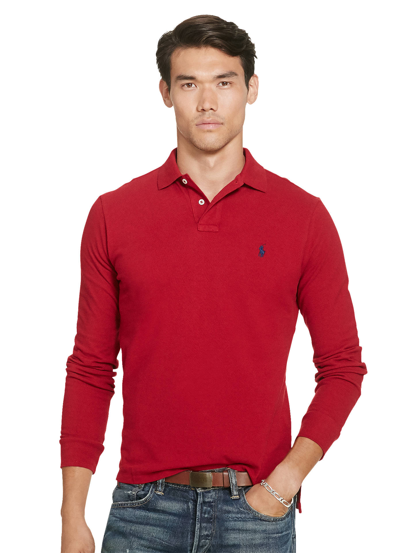 Polo Ralph Lauren Custom Fit Long Sleeve Polo Shirt Eaton Red At
